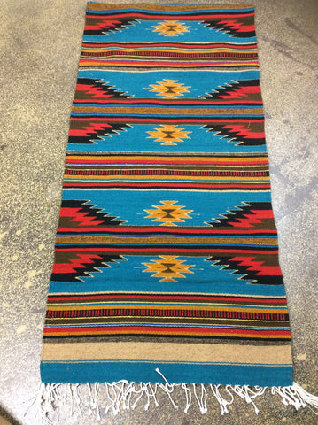 "Wool Floor Runners 30""  by 120"" Turquoise"