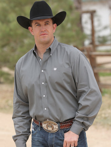 Cinch Solid Grey Long Sleeve Fine Weave Shirt