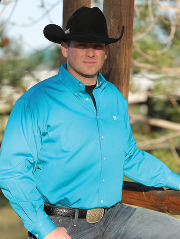 Cinch Solid Teal Long Sleeve Fine Weave Shirt