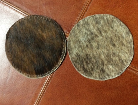 Cowhide Coasters Round Reversable