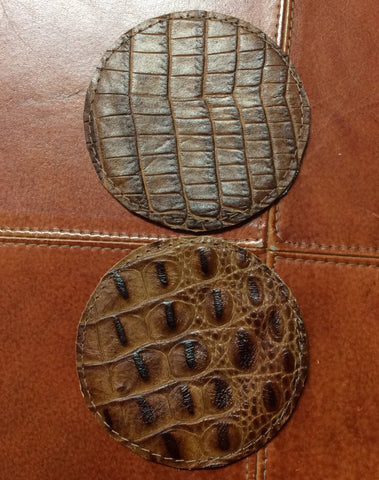 Leather Faux Gator Coasters Round Reversable