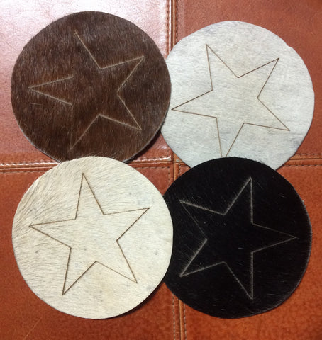 Cowhide Coasters with Lazer Printed Star