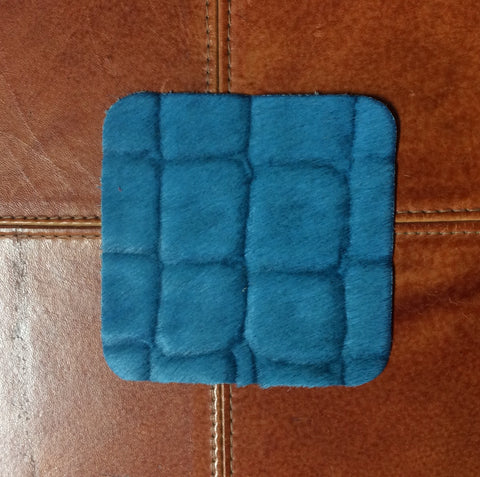 Turquoise Hair on Hide Coasters Faux Croc