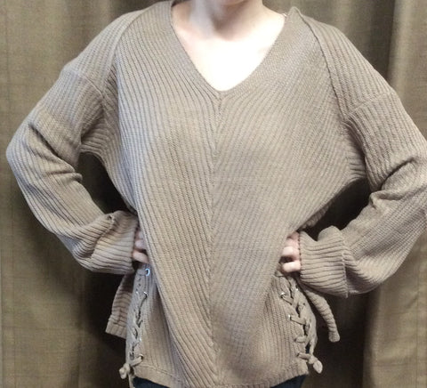 Mocha V-neck Sweater with Drawstring Detail