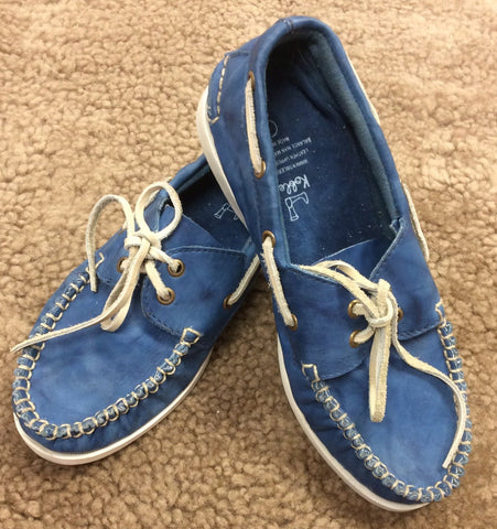 Blue Leather Moccasins