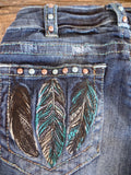 "Cowgirl Tuff ""Fly Free"" Boot Cut Jeans"