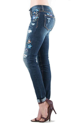 Grace In LA Aurora Distressed Floral Skinny Jeans