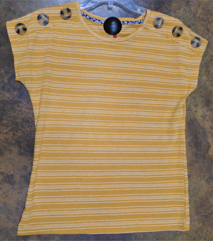 HARVEST YELLOW STRIPE BUTTON SHOULDER TOP