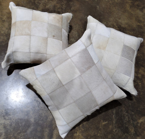 "20"" LIGHT COWHIDE PATCHWORK PILLOW"