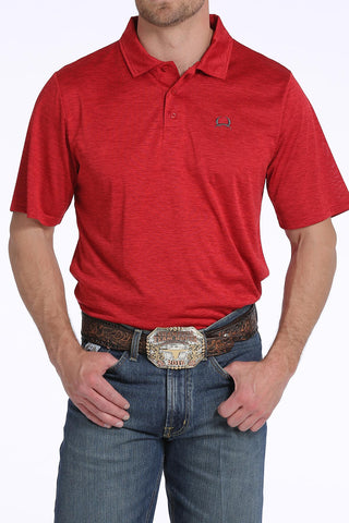 Cinch Heathered Red Athletic Polo