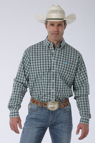 Cinch Blue and Cream Plaid Long Sleeve Shirt