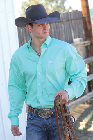 Cinch Solid Mint Long Sleeve Fine Weave Shirt