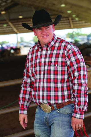 Cinch Red and Black Plaid Double Pocket Long Sleeve Shirt