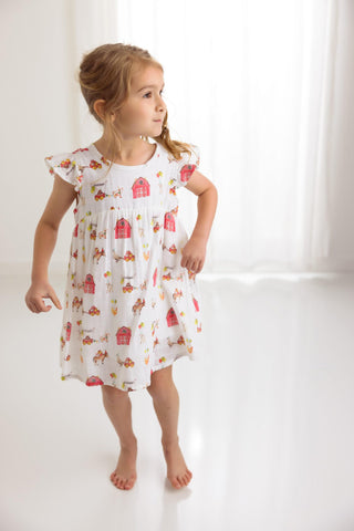 Farm Party Kids Organic Muslum Dress