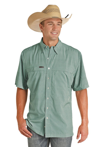 Panhandle Performance Fishing Button up Shirt Teal