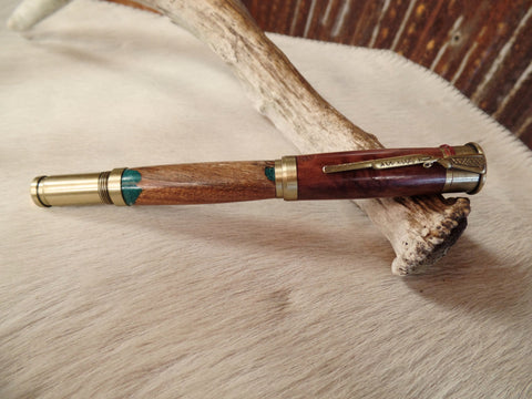 Over Under Shotgun Antique Brass With Pecan & Eucalyptus Wood Pen
