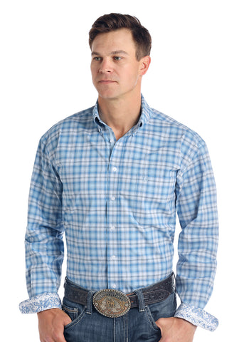 PanHandle Slim Button Down Blue Plaid