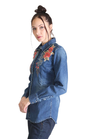 Grace In LA Embroidered Denim Shirt