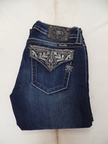 Miss Me Dark Wash Silver Sequin Pattern Boot Cut Jeans