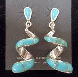Sterling Silver Spiral with Turquoise Inlay Earrings