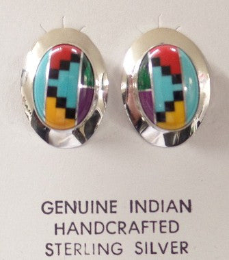 Inlaid Turquoise and Gemstone Sterling Silver Earrings