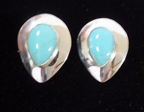 Sterling Silver and Turquoise Teardrop Clip Earrings