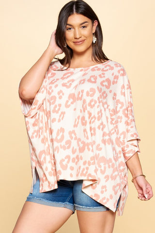 Peach Leopard top plus