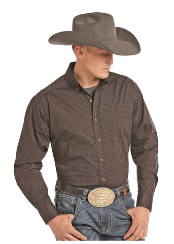 PanHandle Slim Button Down BROWN long sleeve