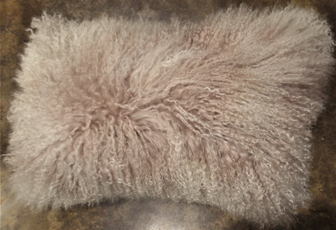 TIBETAN SHEEPSKIN LUMBAR PILLOW IN PINK FROST