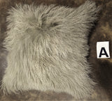 "16"" TIBETAN SHEEPSKIN PILLOW IN TAUPE"