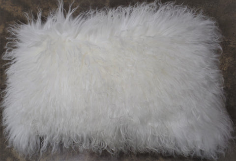 TIBETAN SHEEPSKIN LUMBAR PILLOW IN BRIGHT WHITE
