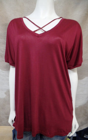 Burgundy Hi-Lo CrissCross Neck Tee