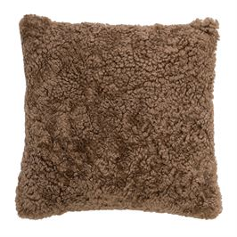 Nougat Square Mangolian Sheep Fur Pillow