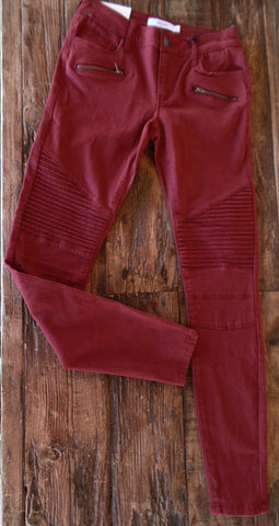 Brick Red Moto Skinnies