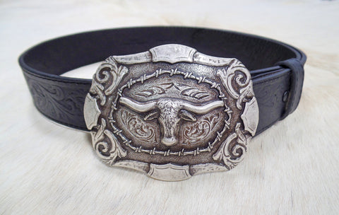And West Mens Black Embossed Belt With Buckle