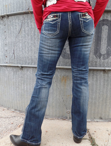 "Cowgirl Tuff ""Aztec Rocker"" Boot Cut Jeans"
