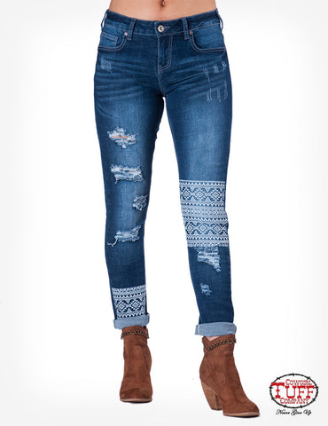 "Cowgirl Tuff ""Aztec"" Skinny Jeans"