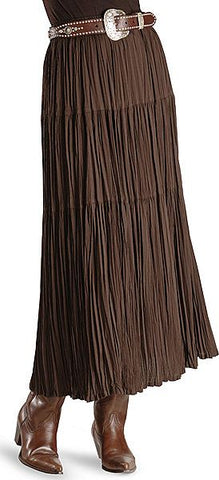 BROWN CRINKLE BROOMSTICK SKIRT