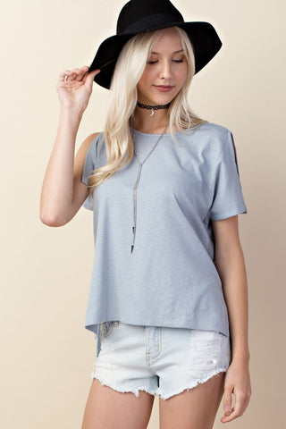 Slit Sleeve Light Blue Top