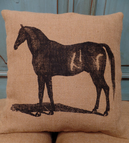 Horse Burlap Pillow