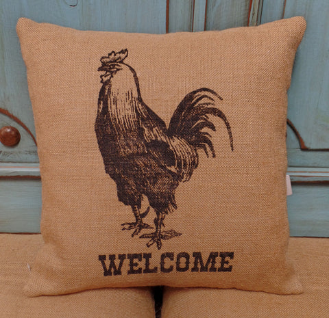 Rooster Burlap Pillow