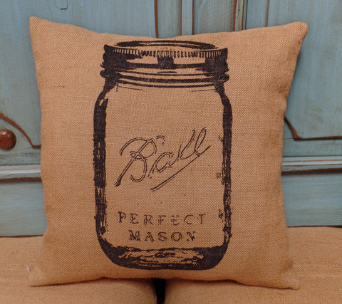 Mason Jar Burlap Pillow