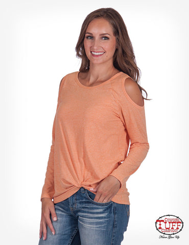 coral cold-shoulder long sleeve tee
