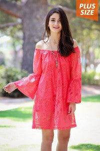 Lace Dress in Coral Plus Size