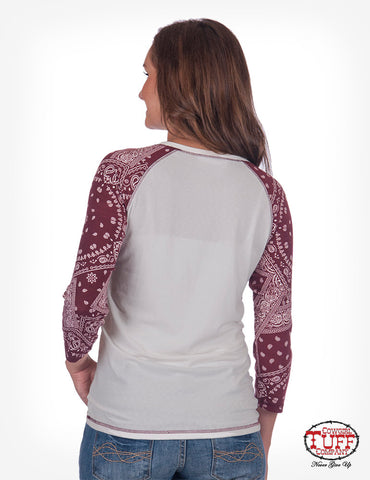 "BASEBALL TEE WITH ""COW""GIRL TUFF PRINT"