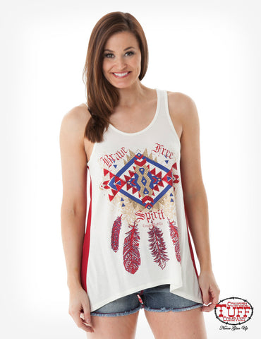 Cream Hi-Lo Tank with Sheer Red Back
