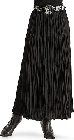 BLACK CRINKLE BROOMSTICK SKIRT
