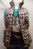 Cowgirl Tuff Brown & Leopard Reversible Puffy Vest