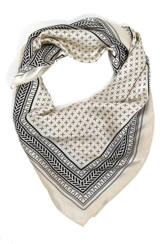 Silky Geo-Pattern Scarf in Black on Ivory