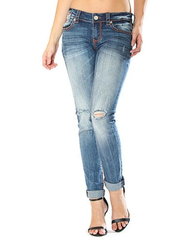 Grace In LA Presley Distressed Medium Wash Skinny Jeans